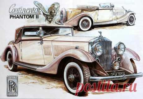 Рисунки разных художников ретро автомобилей (много фото)