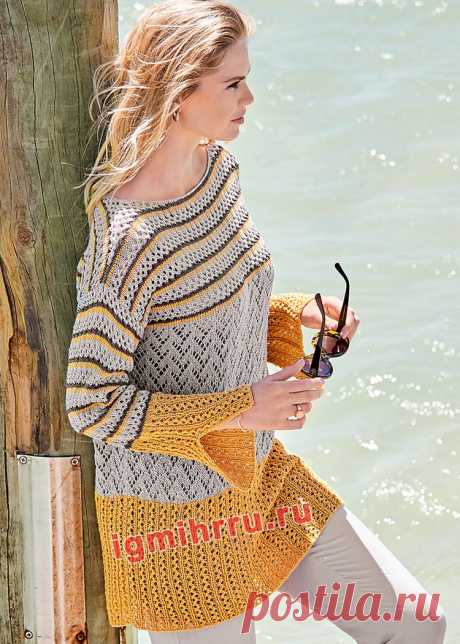 Свободный длинный пуловер с ажуром и полосами. Вязание спицами со схемами и описанием