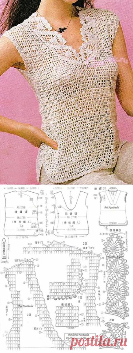 Ажурная безрукавка крючком - Описание вязания, схемы вязания крючком и спицами | Узорчик.ру