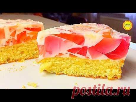 Торт Битое Стекло со сметаной и бисквитом рецепт Желе вкусного легкого десерта