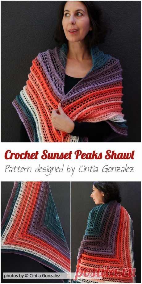 Crochet Sunset Peaks Shawl Pattern