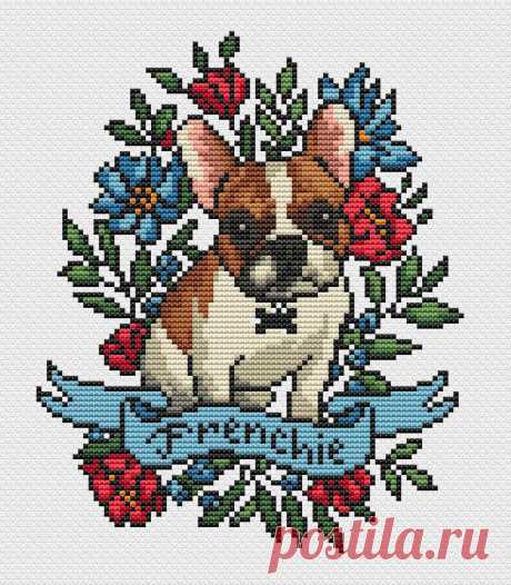 Dog cross stitch pattern PDF/ Frenchie needlepoint counted | Etsy