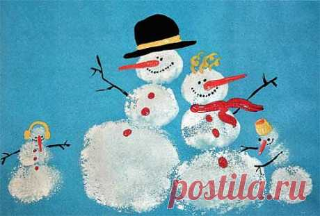 Учимся рисовать. Семья снеговиков :: Уроки рисования для детей