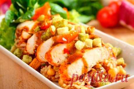 Изысканный салат с курицей и рисом – пошаговый рецепт с фото.