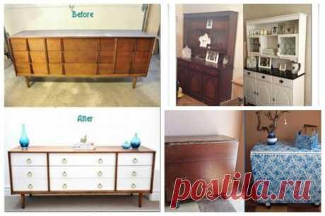 Реанимация старой мебели    Вот у меня тоже есть мысль сделать нечто такое из добротного, но старого шкафа. Вроде и шкаф выбросить жалко, крепкий еще, но посмотрев на эти картинки, не могу для себя решить — красиво это? А вы …