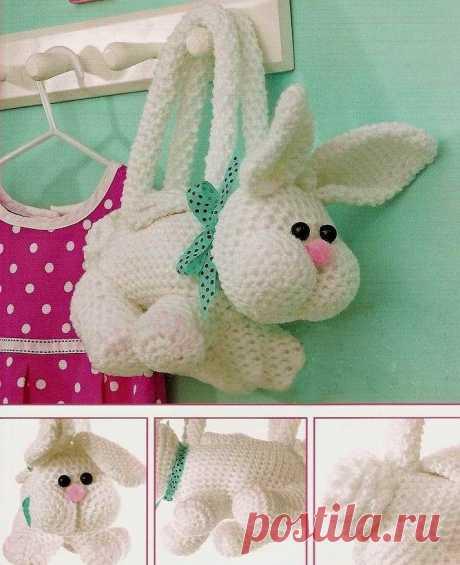 Вязаная сумка в виде зайца — DIYIdeas