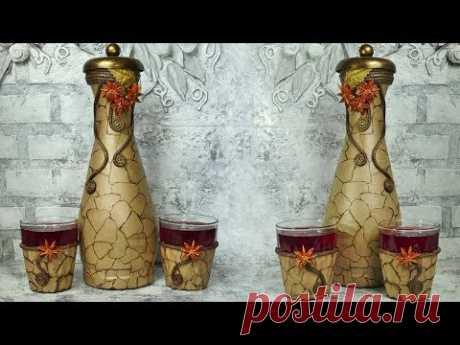 Набор для вина из стеклянной бутылки своими руками
