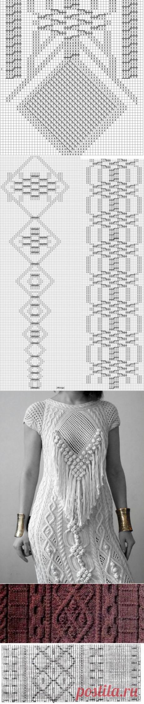 Длинное платье с аранами схемы. Дизайнерское вязаное платье спицами | Я Хозяйка
