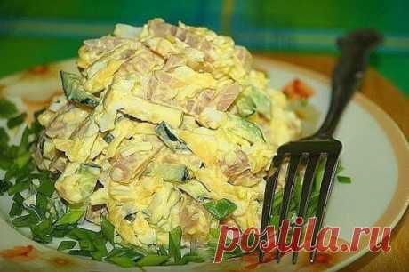 """Салат """"Нежный"""" - не только очень вкусный, но и не дорогой.  Ингредиенты: ветчина - 300 гр  огурец - 2 шт  яйца - 3 шт  сыр- 50 гр  чеснок - 2 зубчика  соль  майонез  Способ приготовления: Шаг 1 Огурцы, ветчину режем соломкой, сыр трем на терке.  Шаг 2 Яйца варим, чистим, трем на терке.  Шаг 3 Добавляем пропущенный через пресс чеснок, солим, перчим, заправляем майонезом. Перемешиваем и подаем к столу.  Приятного аппетита!"""