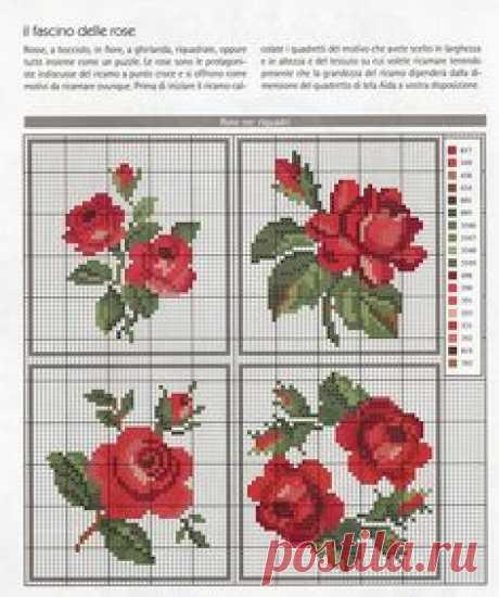 Схема вышивки розы крестом бисером