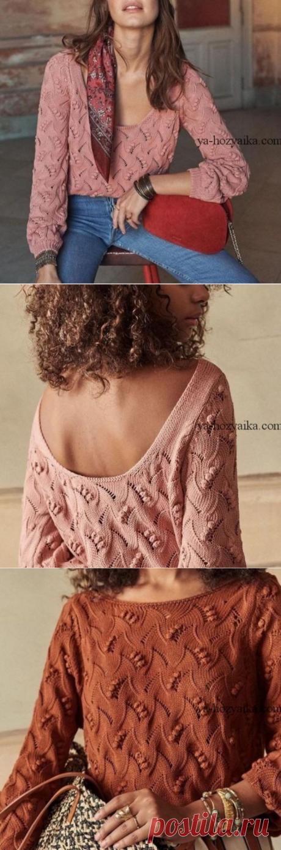 Женский свитер спицами с узором Ландыш.
