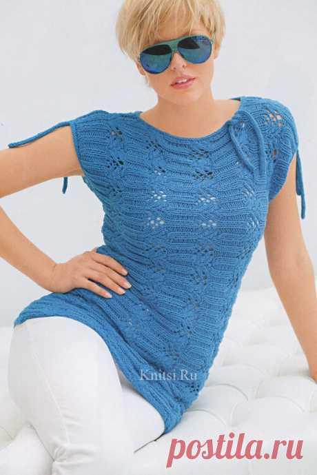 Красивый голубой пуловер своими руками. Вязание спицами
