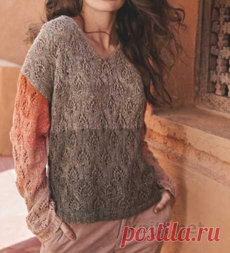 Пуловер с ажурным узором Листочки Пуловер с ажурным узором Листочки.Полоса за полосой - и все из одного клубка! Ажурный узор «Листочки» не так-то прост, но работа спорится.