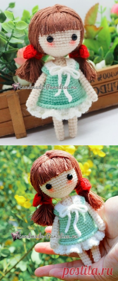 Doll of an amiguruma with red bows