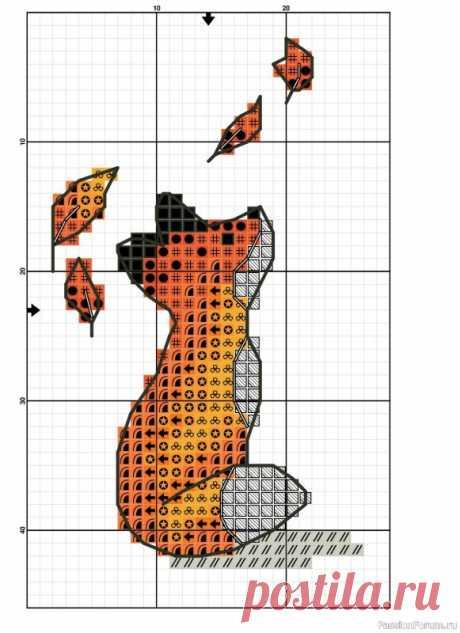 Бесплатная схема вышивки крестом «Осенняя лисичка» | Вышивка крестом