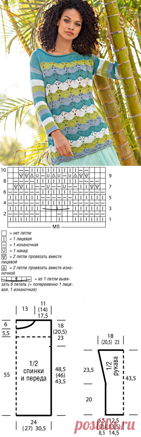 Джемпер в полоску с волнистым узором - схема вязания спицами. Вяжем Джемперы на Verena.ru