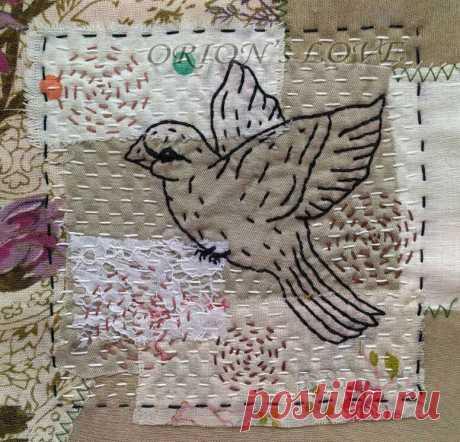 Наконец-то! Новый отшитый блок с птичкой для покрывала в смешанных техниках | Блог ЕЛенкино творчество. | Яндекс Дзен