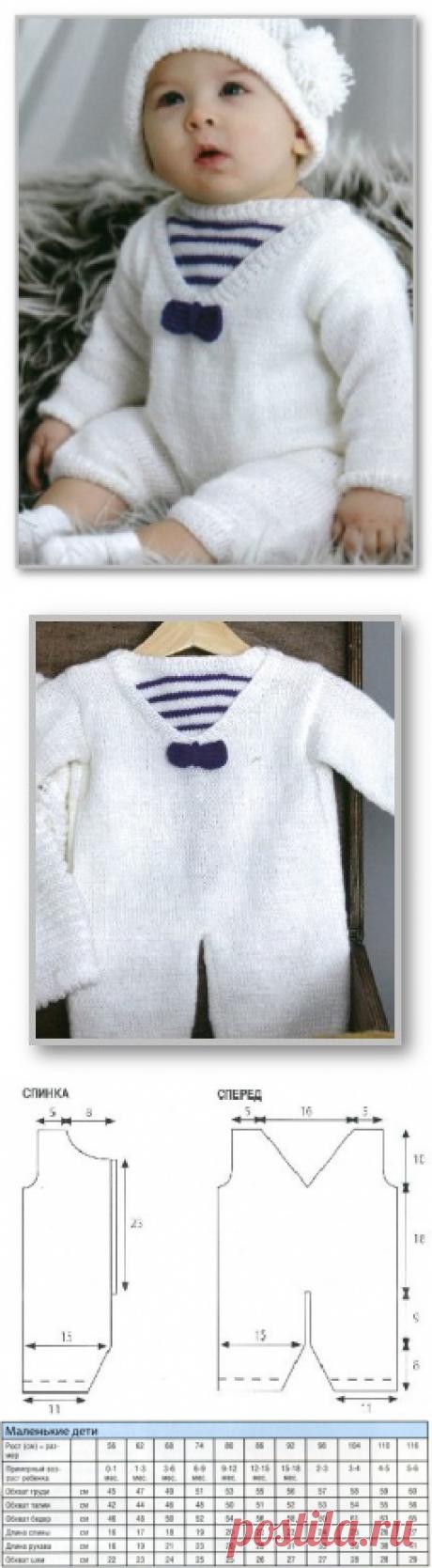 Вязание спицами детям от 0 до 3 лет. Описание детской модели со схемой и выкройкой. Комбинезон в морском стиле; на 3-6 месяцев