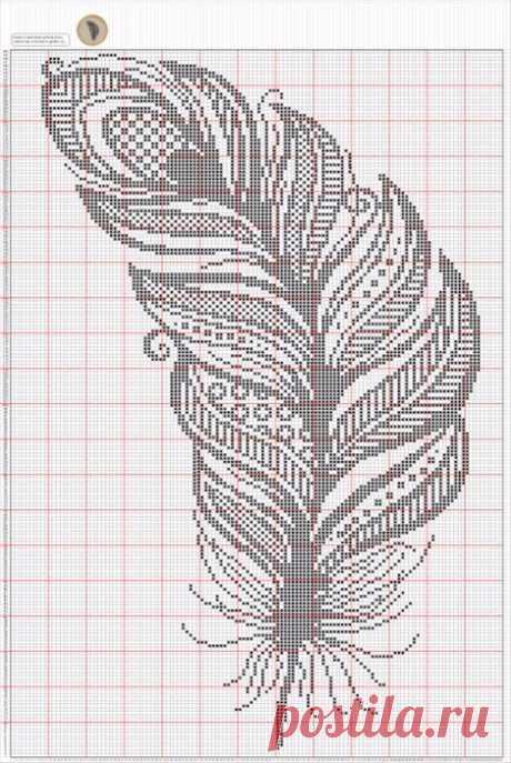 Филейные схемы для вязания крючком - Перья