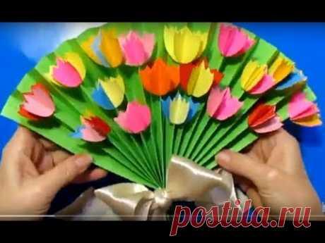 """""""ПОДАРОК МАМЕ"""" / СДЕЛАТЬ СВОИМИ РУКАМИ/ День рождение День Матери 8 марта / поделки бумаги цветы"""