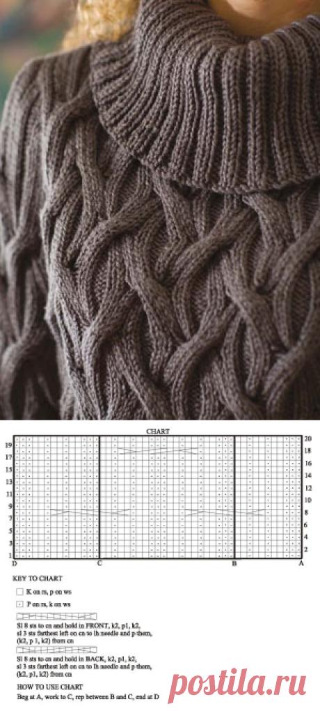 Путаные араны.Теплый-теплый зимний свитер от Berroco спицами