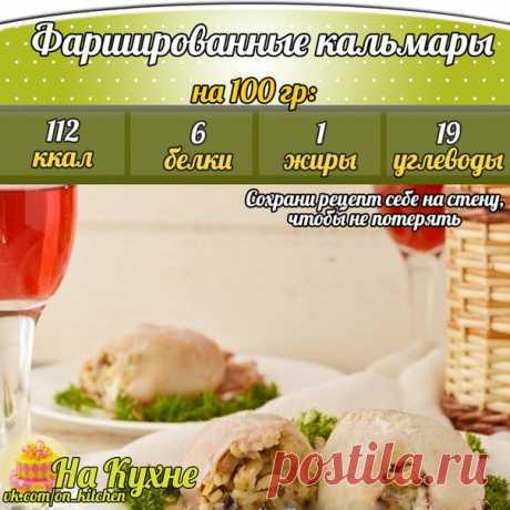 Запеченные фаршированные кальмары: ценный источник белка!   Ингредиенты: Кальмар маленький - 3 шт.  Лук репчатый - 1 шт.  Шампиньоны - 200 г  Рис варенный - 1 ст Натуральный йогурт - 400 мл  Соль, перец - по вкусу