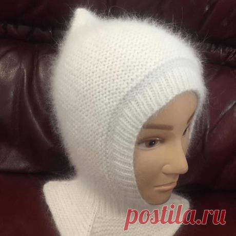 Шапка-шлем связана из пуха норки с подкладом из мериноса с хлопком (Вязание спицами) – Журнал Вдохновение Рукодельницы