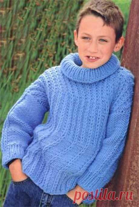 Вязание для детей. Вязаный пуловер на мальчика. Модель для вязания 39.