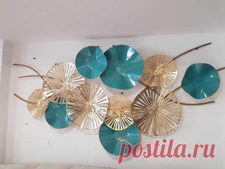 Настенный декор Цветы золотисто-бирюзовые - купить за 10800 руб. в интернет-магазине DG-Home