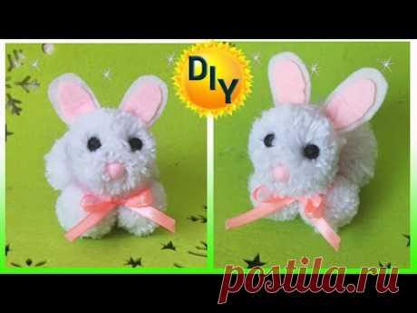 Кролик из помпонов своими руками. DIY/рукоделие