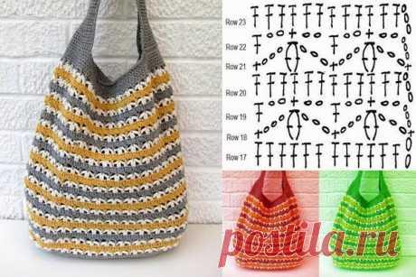 летняя сумка-торба крючком и схема узора к ней