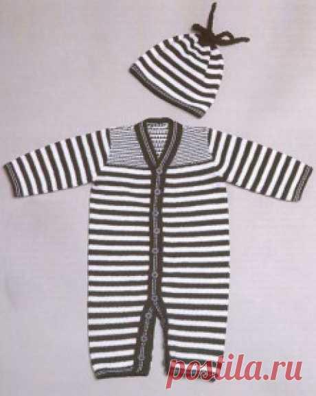 Вязаный полосатый комбинезон и шапочка   Вязание спицами и крючком – Азбука вязания