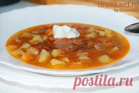 Острый картофельно-гороховый суп с баварскими колбасками | Поварёшки
