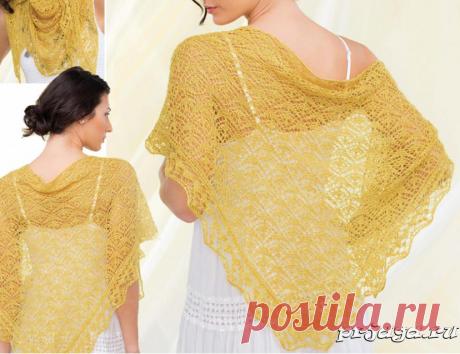 «Золотая» шаль спицами, схема.