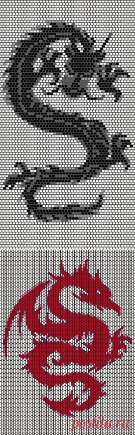 Драконы (мозаика, кирпичик) | biser.info - всё о бисере и бисерном творчестве