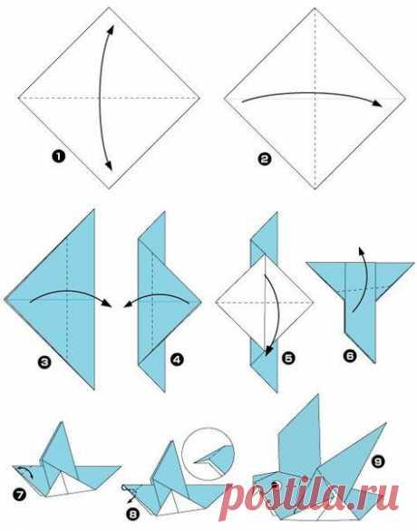 Птицы в технике оригами — Поделки с детьми