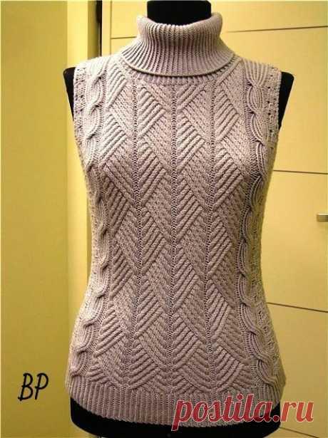 Шикарный пуловер или безрукавка (Вязание спицами) | Журнал Вдохновение Рукодельницы