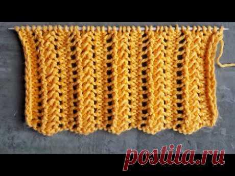 Легкий ажурный узор спицами для вязания шарфов, палантинов, кардиганов - YouTube
