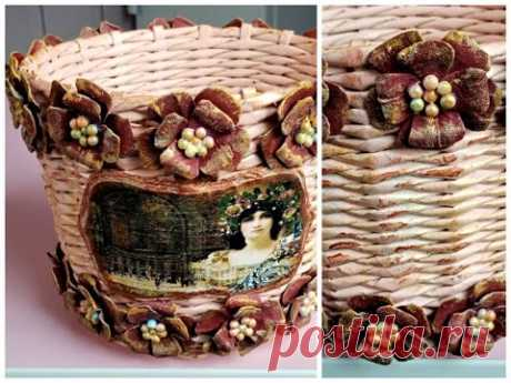 TUTORIAL COS impletit cu flori din cartoane oua -TUTORIAL BASKET woven with flowers from egg cartons