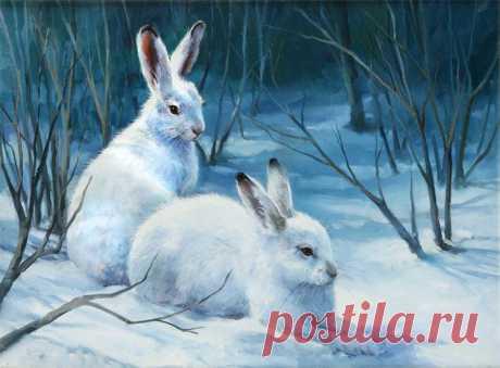 Схема вышивки «Зайчишки в зимнем лесу» - Вышивка крестом