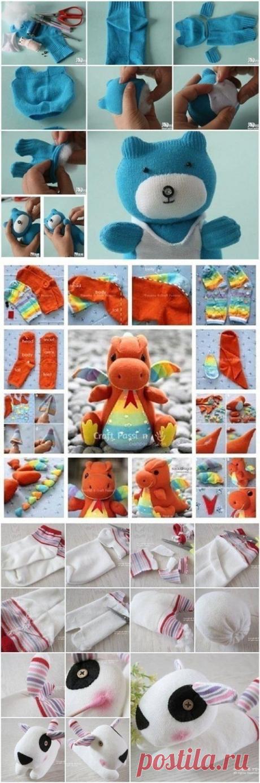 10 простых игрушек из носков