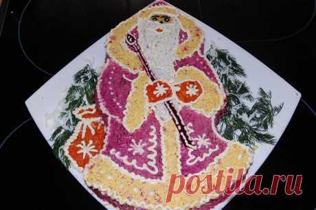 Новогодняя сельдь под шубой «Дед Мороз»   Закуски и бутерброды   La-Minute - Вкусные рецепты с фото и пошаговым приготовлением !