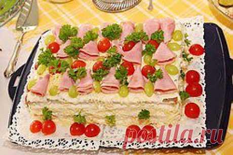 Слоеные салаты с мясными продуктами - салаты, слоеные салаты, мясо, майонез