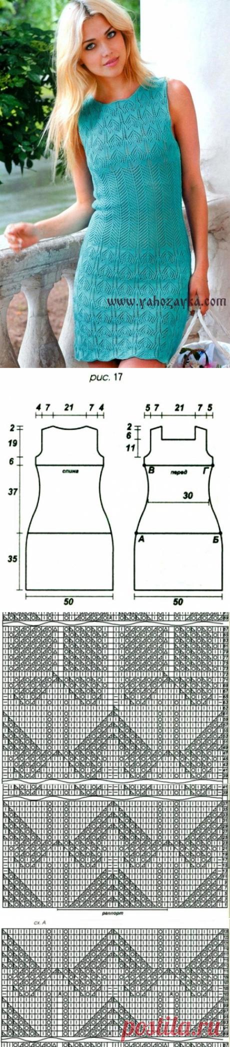 Платье спицами описание. Платье спицами из ажурных узоров | Я Хозяйка
