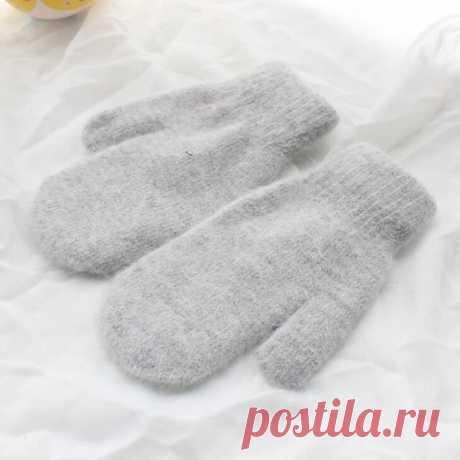 Женские зимние толстые кашемировые двухслойные плюшевые шерстяные вязаные теплые рукавицы, милые закрытые перчатки, L80 Женские перчатки 