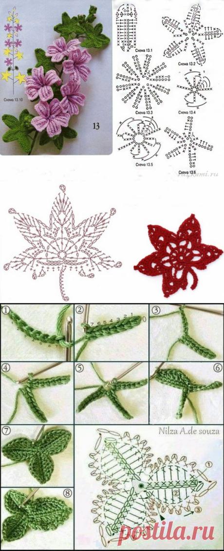 Вяжем крючком цветочки и листочки — Сделай сам, идеи для творчества - DIY Ideas