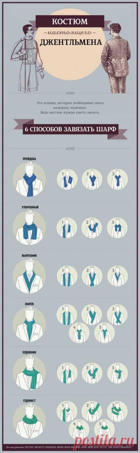 Костюм настоящего джентльмена. 6 способов завязать шарф