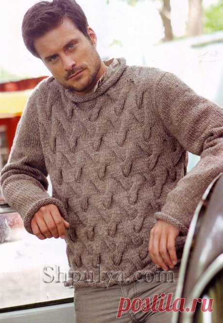 Бежевый мужской пуловер с узором косы спицами - SHPULYA.com
