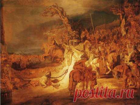 «Единение страны» - Рембрандт. 1641. Гризайль «Единение страны» Рембрандт написал в 1641. Под таким названием картина была внесена в инвентарь имущества в Роттердамском музее Бойманса и ван Бенимгена. Картина была продана в 1656 году, чтобы удовлетворить кредиторов музея.