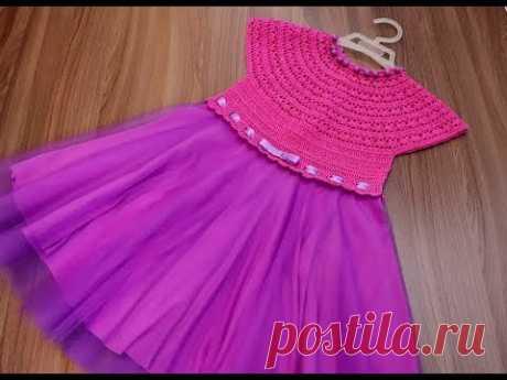 Детское платье крючком.Размер 3-4 года.Часть №2